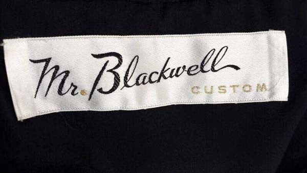1960s Mr. Blackwell Custom Black Cocktail Dress with Trim