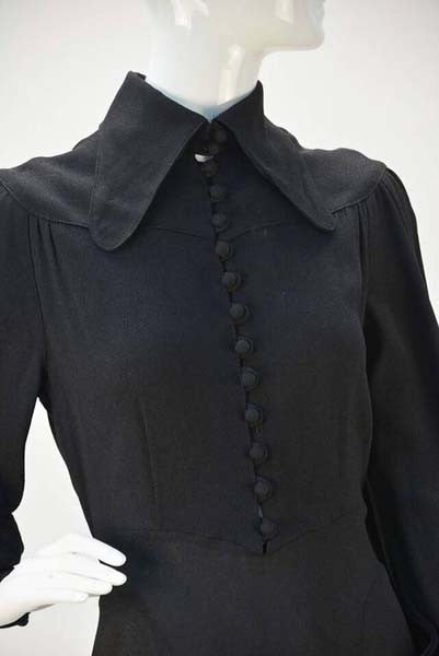 1970s Ossie Clark Black Moss Crepe Dress