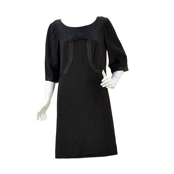 1960s Norman Hartnell for Neiman Marcus Black Wool Beaded Dress