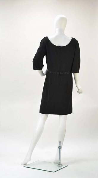 19a73786691e 1960s Norman Hartnell for Neiman Marcus Black Wool Beaded Dress ...