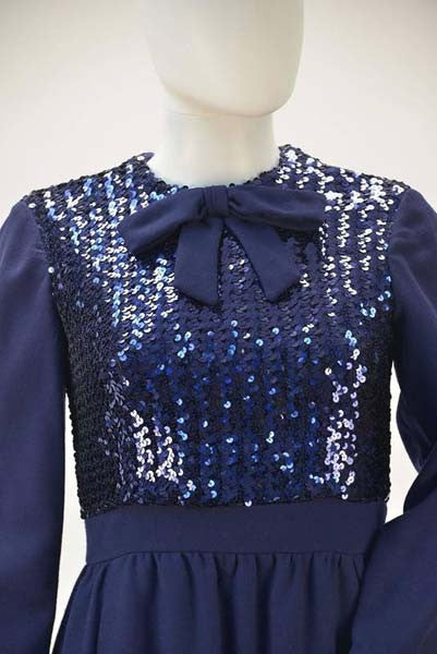 1960s Navy Wool Sequined Cocktail Dress