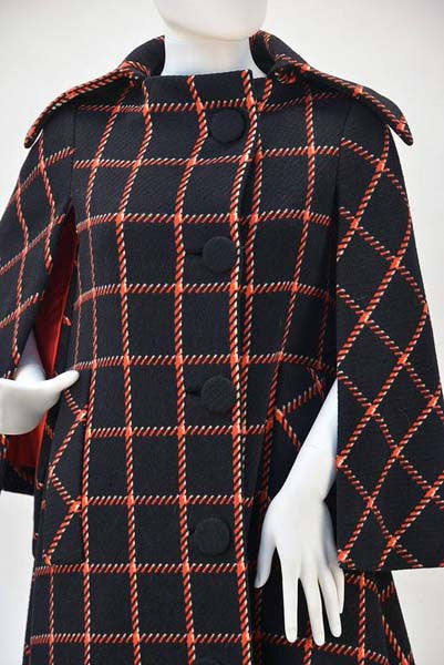 1970s Pauline Trigere Black and Red Plaid Wool Cape and Skirt
