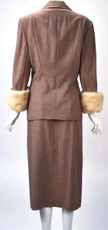 1950s Neiman Marcus Gabardine Tailored Skirt Suit with White Mink