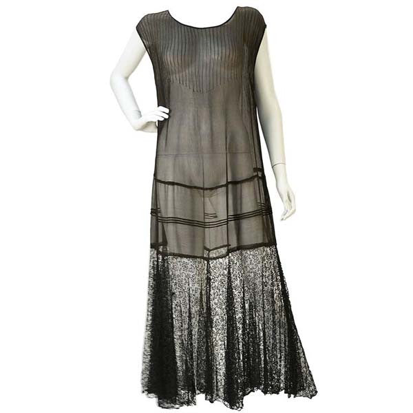 "1920s Chiffon Drop Waist ""Flapper"" Dress with Black Lace"