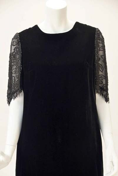 1980s Custom Beaded Black Velvet Flapper Dress