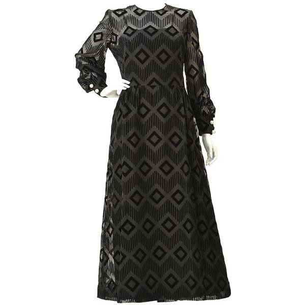 1970s Pierre Balmain Black Silk Burnout Dress