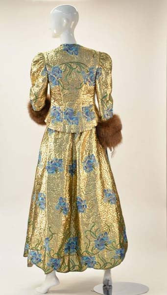 1980s Arnold Scaasi Couture Embroidered Gold Ensemble with Mink Cuffs