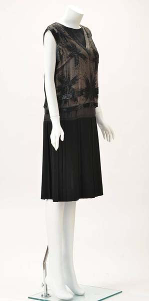 Striking 1960s Malcolm Starr Hand Sewn Beaded Black Crepe Evening Dress