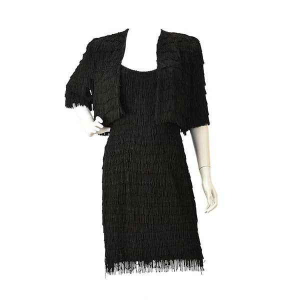 Vintage Black Fringe Dress with Matching Bolero