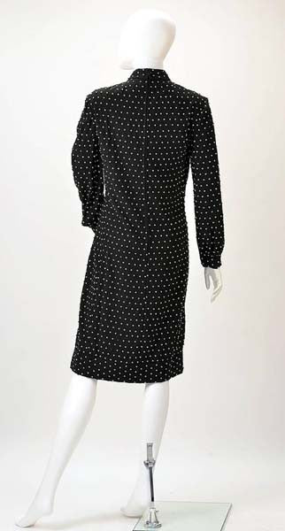 1960s Larry Aldrich Black Knit Rhinestone Dress