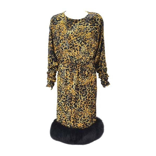 1980s Bill Blass Silk Burnout Dress in Leopard Print with Rhinestones and Mink