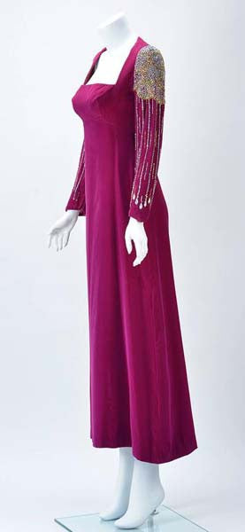 1960s Mr. Blackwell Custom Purple Velvet Evening Dress