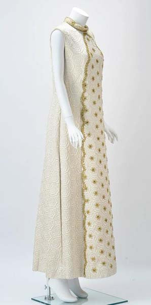 1950s Bernetti Jaquard Maxi Dress with Gold Threadwork and Beading
