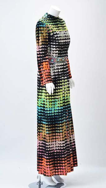 1960s Valentina Colorful Pixelated Print Dress