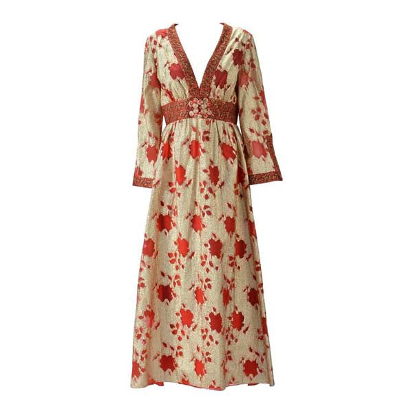 1960s Lillie Rubin Gold and Red Metallic Dress - MRS Couture