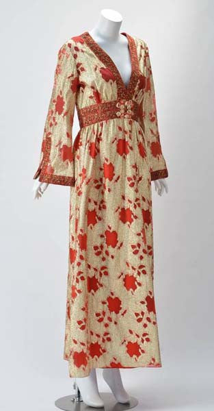 1960s Lillie Rubin Gold and Red Metallic Dress