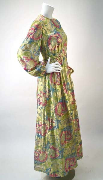 1960s Bonwit Teller Metallic Floral Evening Dress
