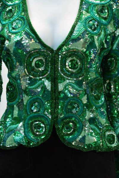 1980s Naeem Khan Green Pure Silk Sequined Jacket