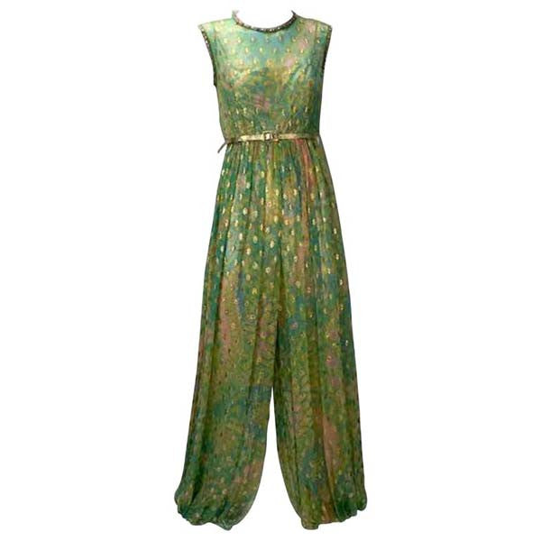 1960's Mollie Parnis Indian Inspired Metallic Green Harem Jumpsuit