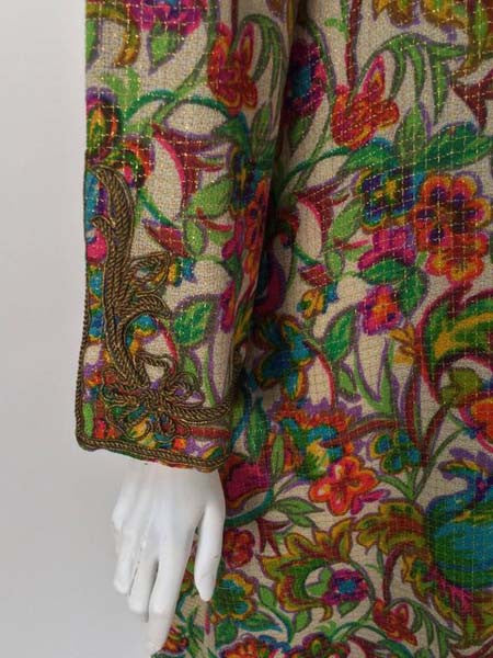 1970's Floral Multi-Colored Embroidered Kaftan OS
