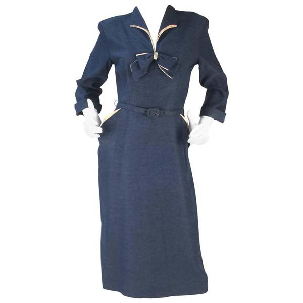1940s Mar Cadet Blue Dress