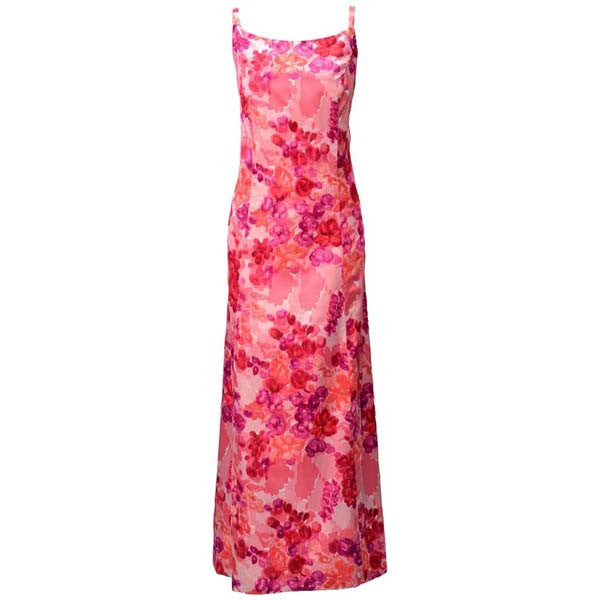 1964 Salmon Pink Satin Evening Gown with Velvet Flowers - MRS Couture