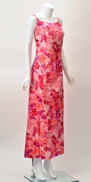 1964 Helga Salmon Pink Satin Evening Gown with Velvet Flowers
