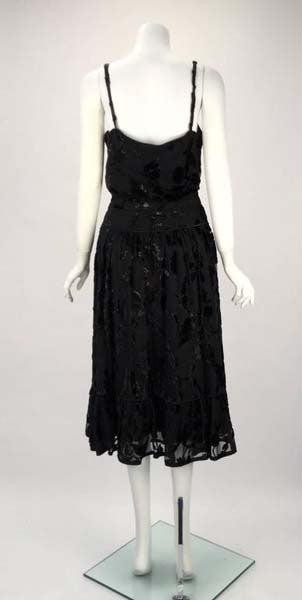 1980s Alan Austin French Black Floral Silk Burn Out Top and Skirt