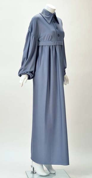 1970s Jean Varon Periwinkle Blue Long Sleeve Dress