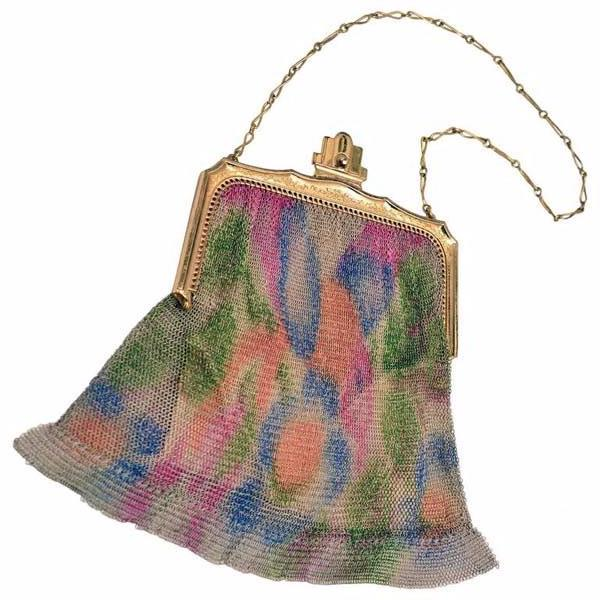1930s Whiting Davis Art Deco Painted Mesh Purse