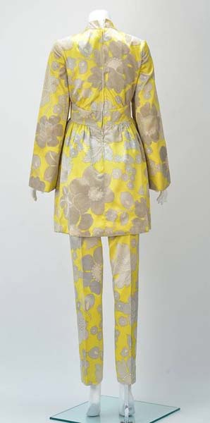 1960s George Halley Yellow Silk Tunic and Pant Suit