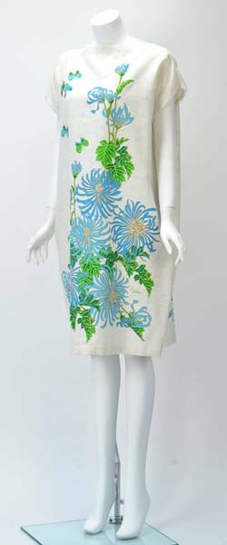 1970s Alfred Shaheen Print Custom Cotton Shift Dress