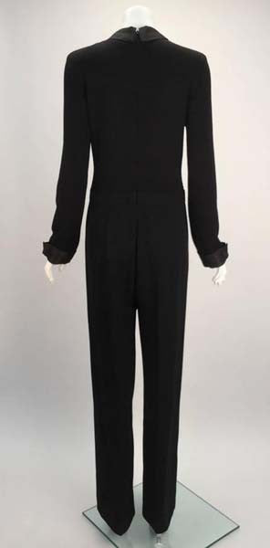 1980s Valentino Miss V Black Sweater Knit Jumpsuit