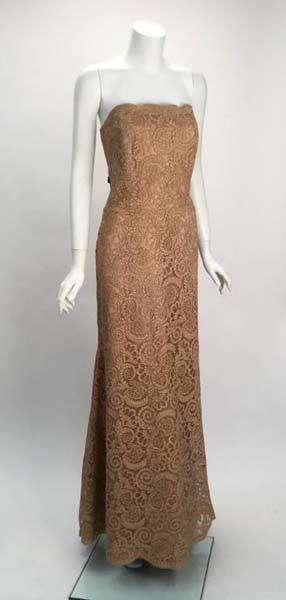 Vintage Fawn Venetian Lace Floor Length Gown