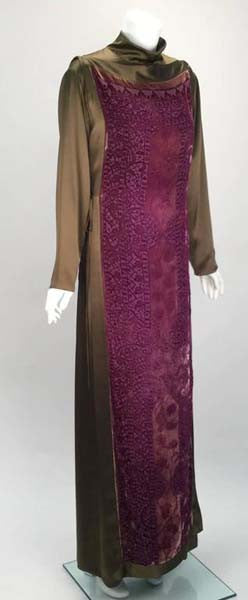 1990s Sylvia Heisel Olive Green Kaftan w/ Purple Silk Burnout Overdress