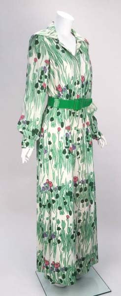1970s Luis Estevez Spring Maxi Dress