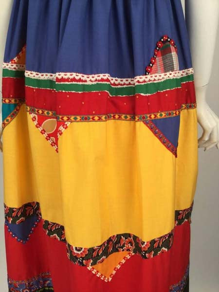 1980s Giorgio Sant' Angelo Bright Empire Waist Color Blocked Dress