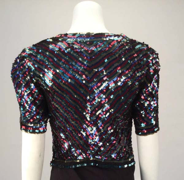 1940s Multicolor Sequin Short Sleeve Bolero