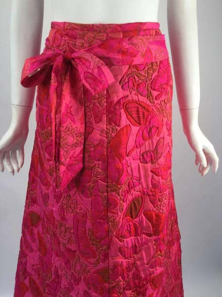 1970s Thai Silk Pink Butterfly Quilted Maxi Skirt