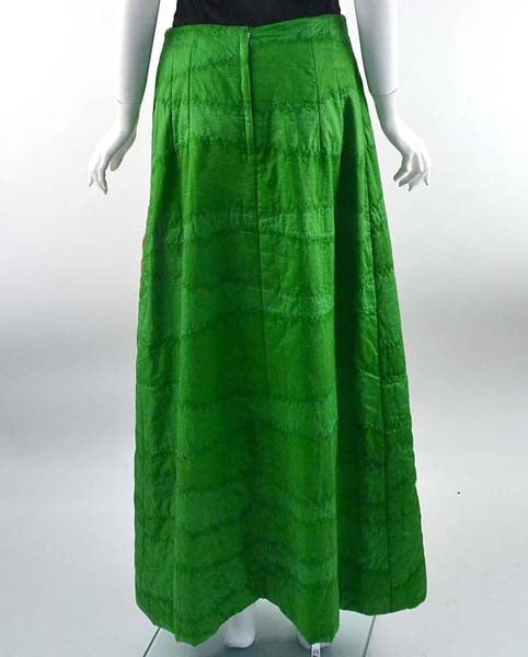 1970s Hand Screened Goldfish Green Quilted Cotton Maxi Skirt