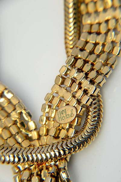 1940s Hobe Gold Tone Necklace with Rhinestones