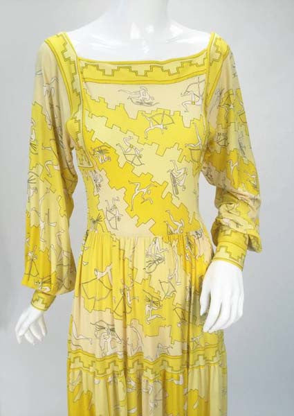 1970s Emilio Pucci Yellow Silk Knit Abstract Olympic Print Maxi