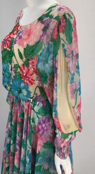 1980s Diane Freis Silk Long Sleeve Multicolor Floral Dress with Beadwork