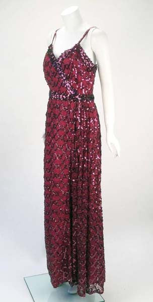 1970s Lilli Diamond Maroon Sequined Evening Gown - MRS Couture