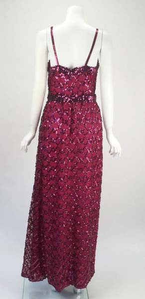 1970s Lilli Diamond Maroon Sequined Evening Gown