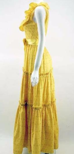 1970s Molly Parnis Summer Maxi Dress with Yellow Eyelet Lace