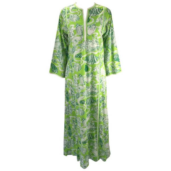 "1960s Lilly Pulitzer ""The Lilly"" Green Sea Shell Print Kaftan"