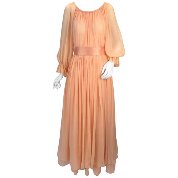 1970s Bill Blass Peach Silk Chiffon Dress