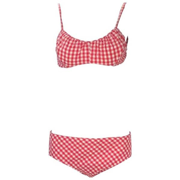 1960s Cole of California White and Red Checkered Print Cotton Bikini with Headband