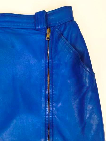 1980s Yves Saint Laurent Blue Leather Jacket and Skirt Ensemble